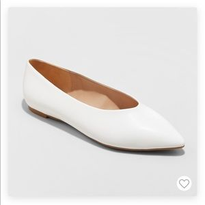White pointed toe ballet flats